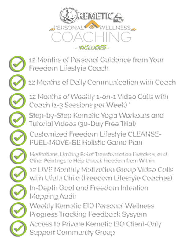 KEMETIC EIO PERSONAL WELLNESS COACHING INCLUDES...